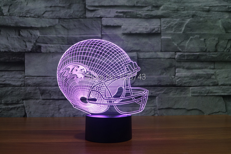 Baltimore Ravens American Football cap helmet NFL 3D LED Color Changing Decor night light by Touch induction control and battery сумка мужская calvin klein jeans цвет черный серый k50k502156 0010