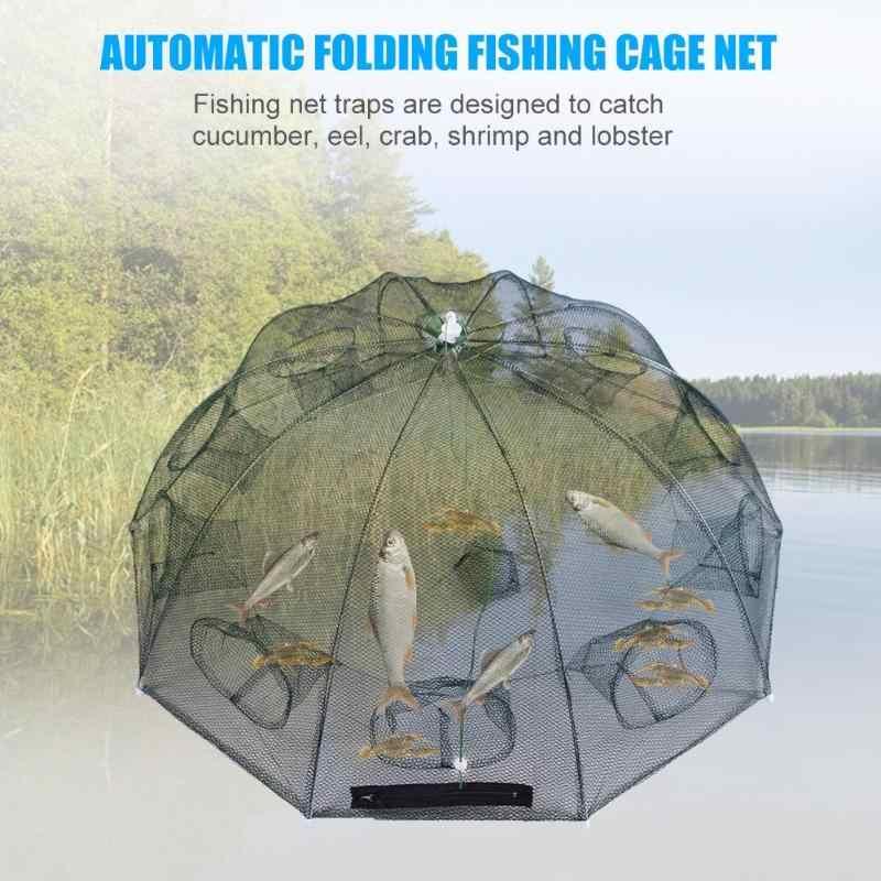 المحمولة التلقائي مظلة قابلة للطي نوع الصيد صافي الروبيان قفص كراب الأسماك فخ يلقي صافي 6 8 10 12 16 20 ثقوب Pesca Iscas أدوات