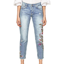 2017 summer pants women casual embroidered jeans woman hole denim pants slim womens clothing flowers pencil