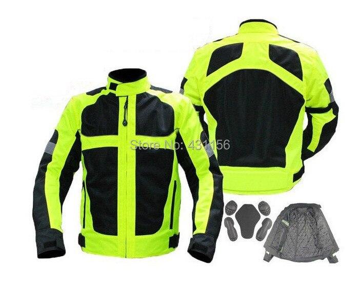 Green Reflective racing jacket motorcycle jackets Motorcycle rainclothes with 5 pcs pads protection
