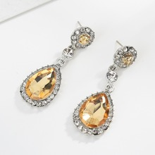 Luxury Big Simulated Gem Crystal Boho Long Water Drop Earrings For Women Wedding Engagement Statement Dangle Earrings