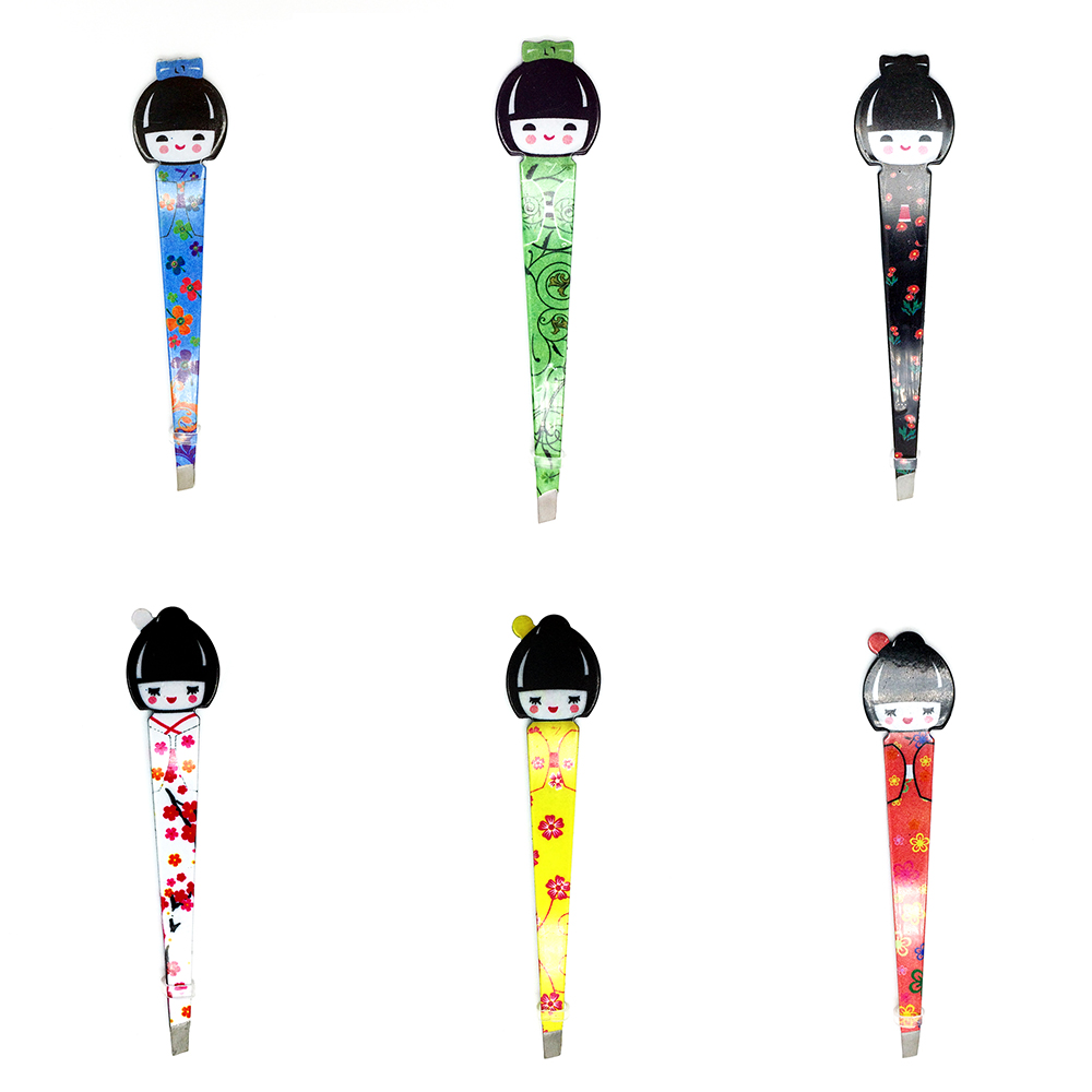 Cute Girl Slanted Eyebrow Tweezers For Eyelash Extension Hair Clipper For Eyebrows Brow Pliers beauty Makeup Tool