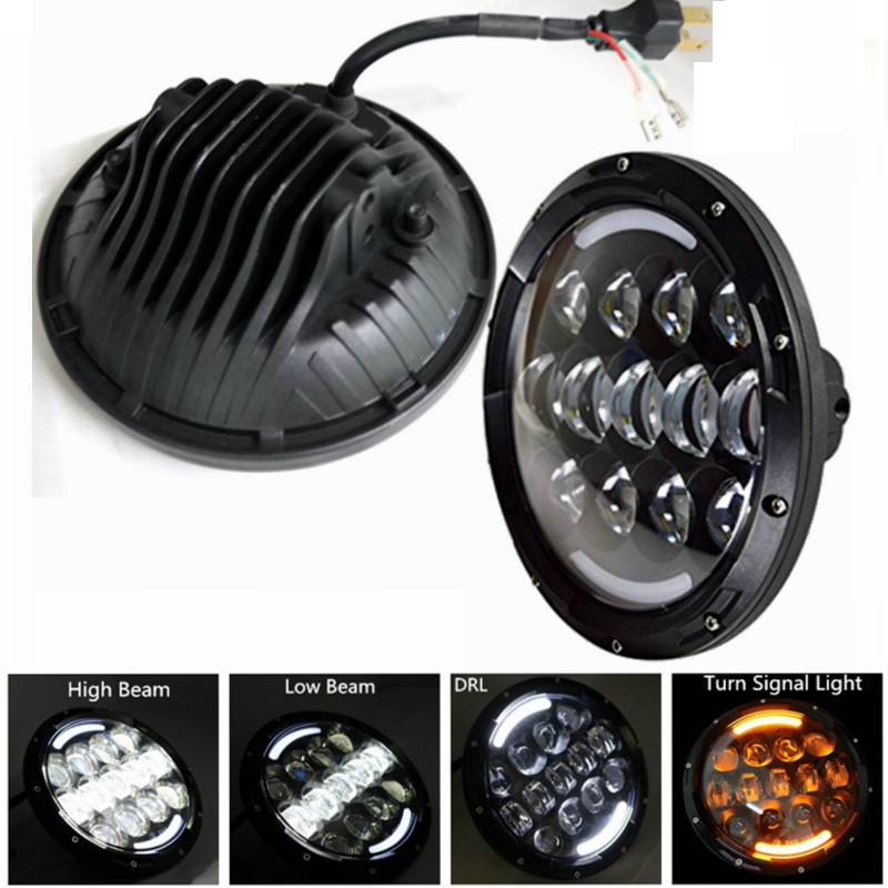 7 Inch 105w Round LED Projector Headlights with DRL Hi/lo Beam for Jeep Wrangler Jk Tj Headligth Harley Motorcycle Lamp 7 inch motorcycle led headlight hi lo beam assemblies lamp projector for harley