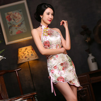 Yüksek Kalite Çin Kadın Geleneksel Elbise Ipek Saten Mini Cheongsam Vintage Backless Qipao Boyut S M L XL XXL L2016042408