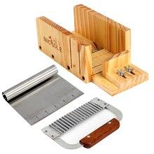 Николь нож для мыла набор инструментов-3 регулируемая деревянная коробка для резки буханки с волнистым и прямым лезвием из нержавеющей стали для ручной работы