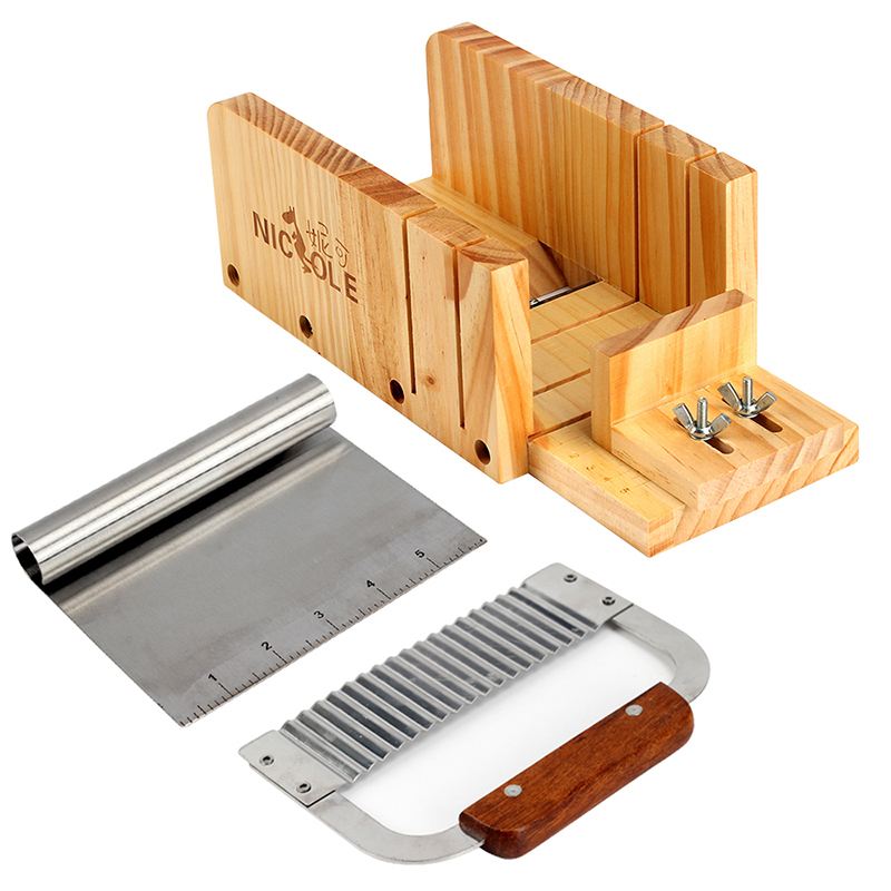 Nicole Soap Cutter Tool Set-3 Adjustable Wood Loaf Cutting Box with Stainless Steel Wavy & Straight Blade for Handmade