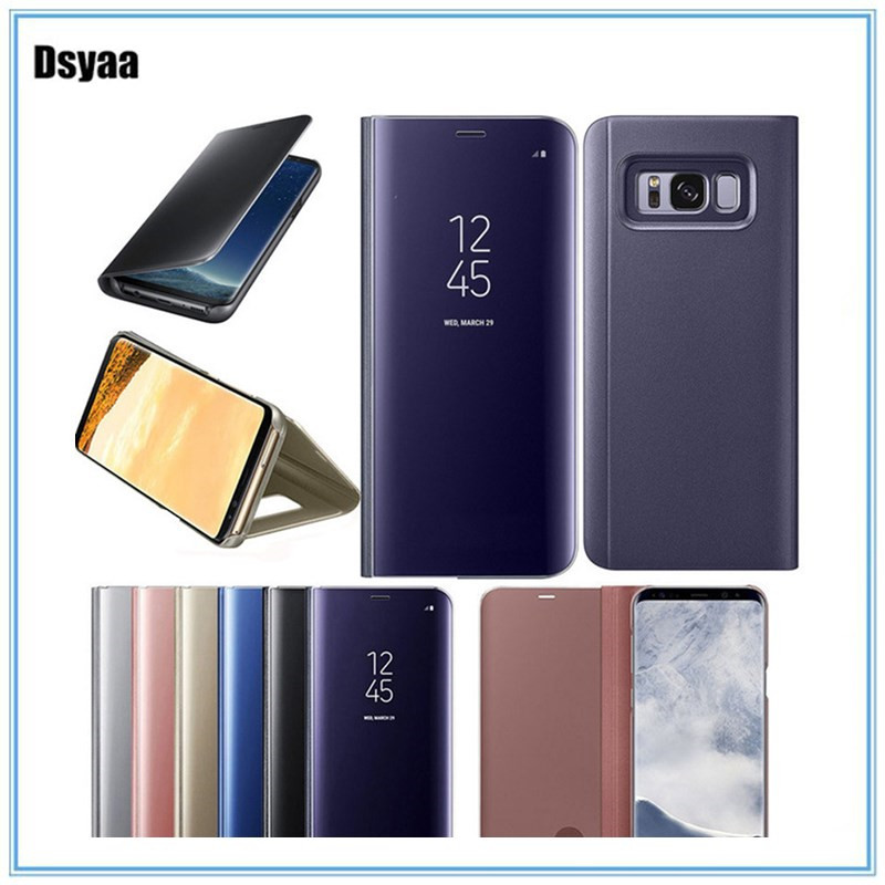 Smart Mirror Flip Phone Case for Samsung S6Edge S8plus S9 S7 Full Body Protected Flip Cover for Samsung NOTE5 NOTE8 Mirror Shell