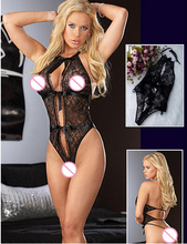 hot sale sexy lingerie Lace piece suit black bow lace teddy lingerie sex products Open bra babydoll sexy underwear women