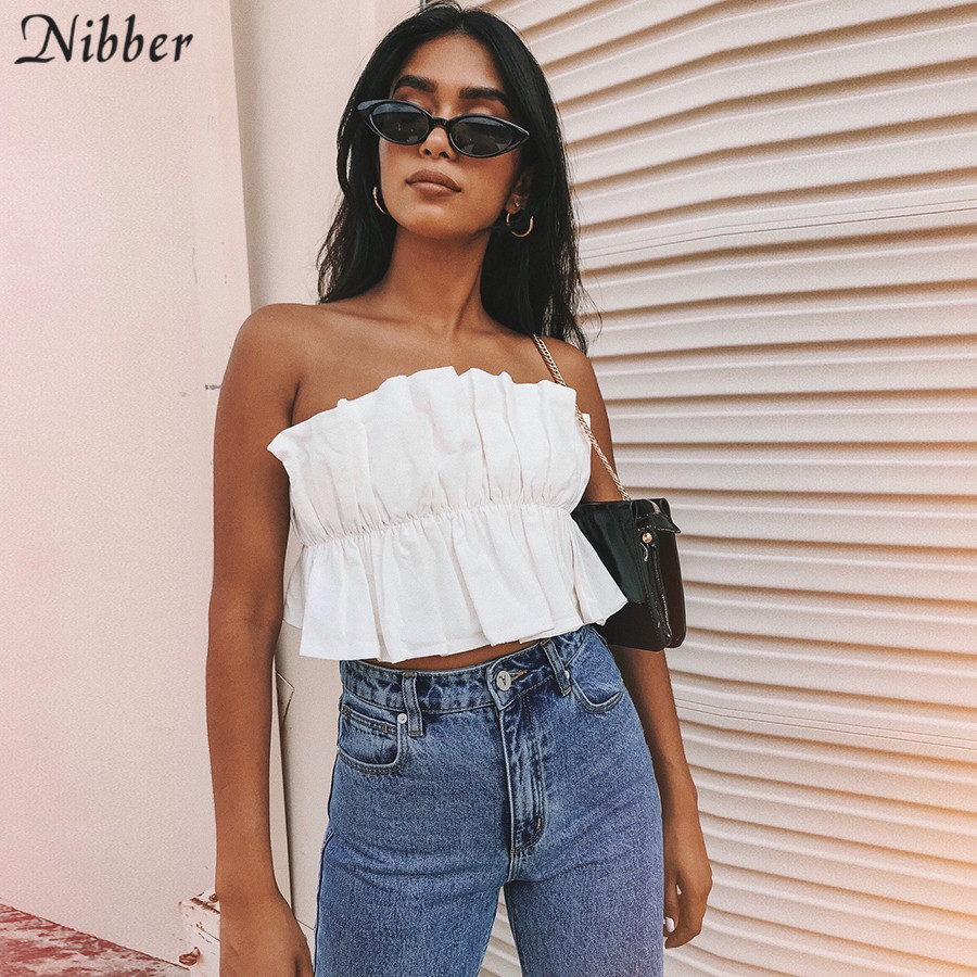 Nibber summer hot sale Sexy Womens white   Tank     Tops   2019 spring Party Crop   Top   beach Casual vacation Strapless Elegant Bandeau