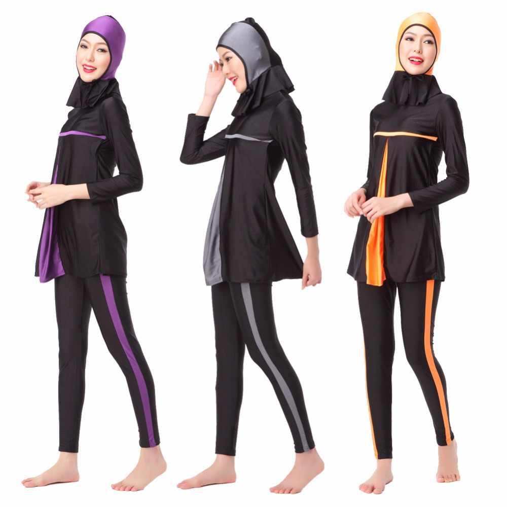 d0a6bc7e38595 Women long sleeve full coverage conservative swimsuit tops+pants+caps  female muslim swimwear bathing