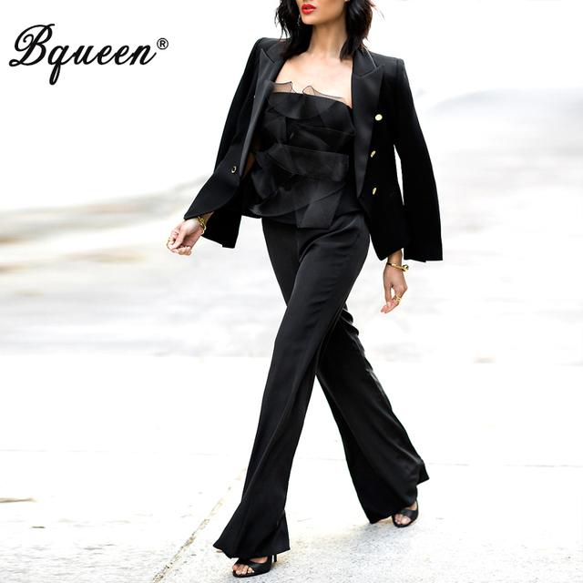 Bqueen 2017 Nova Chegada Profundo-V Preto Fatos de Calça Das Mulheres OL Elegante Sexy Estilo de Negócios de Moda