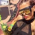 New fashion ultra integrada de grandes dimensões óculos de sol da marca do desenhador das mulheres dos homens de luxo à prova de vento-reflective coating lens óculos de sol
