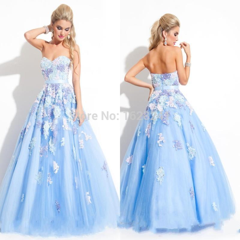 Beautiful Prom Gowns With Color Appliques Crystal Beaded Ribbon ...