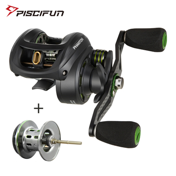 Piscifun Phantom+spool Fishing Reel Carbon Fiber Ultralight 162g Dual Brake 7.7kg Max Drag 7.0:1 Gear Lake Baitcasting Reel