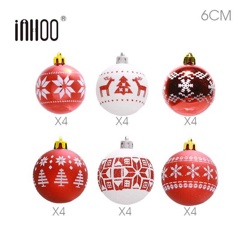 Inhoo 24pcs Christmas Tree Decor Balls 6cm Pendant Accessories