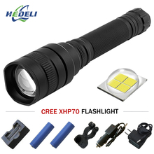 XHP70 Powerful LED flashlight Tactical Zoom torch flashlight Rechargeable Lantern CREE XHP70 10000lm Camping hunting lamp 18650 vastfire xhp70 5 mode white light zoom led tactical flashlight hunting torch lamp for 18650 battery