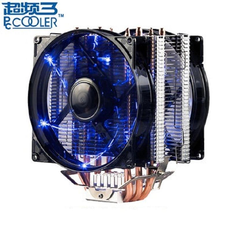Pccooler X4 4 Heatpipe CPU cooler 12 cm LED 4pin ventilateur pour Intel 1155 1156 2011 AMDradiator radiateur CPU de refroidissement 120mm calme PC ventilateur