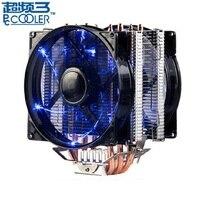 Pccooler X4 4 Heatpipe CPU cooler 12cm LED 4pin fan for Intel 115X 2011 AMD AM4 radiator heatsink CPU cooling 120mm quiet PC fan
