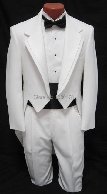 カスタム スーツ男性の男の子白タキシード燕尾服ダンス衣装タキシード尾コート花婿の結婚