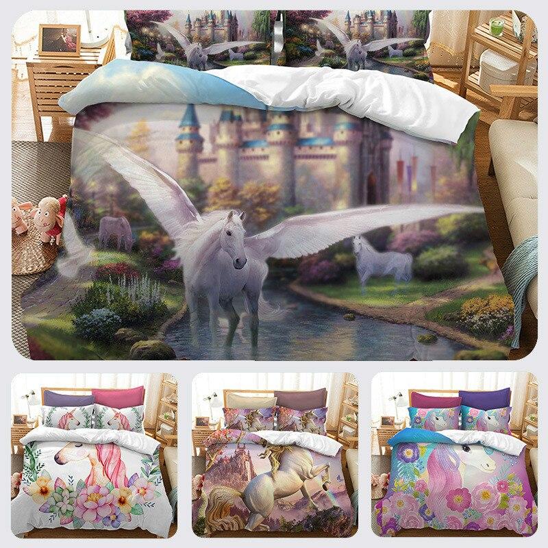 3D Set Biancheria Da Letto di Formato di Us Au Ue Acquerello Stampa Unicorno letto Set Capretti Della Ragazza di Fiore Copripiumino Colorato Regina Da Sogno biancheria da letto