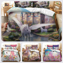 3D Unicorn Bedding Set Us Au Eu Size Watercolor Print Bed Set Kids Girl Flower Duvet Cover Colored Queen Dreamlike Bedlinen(China)