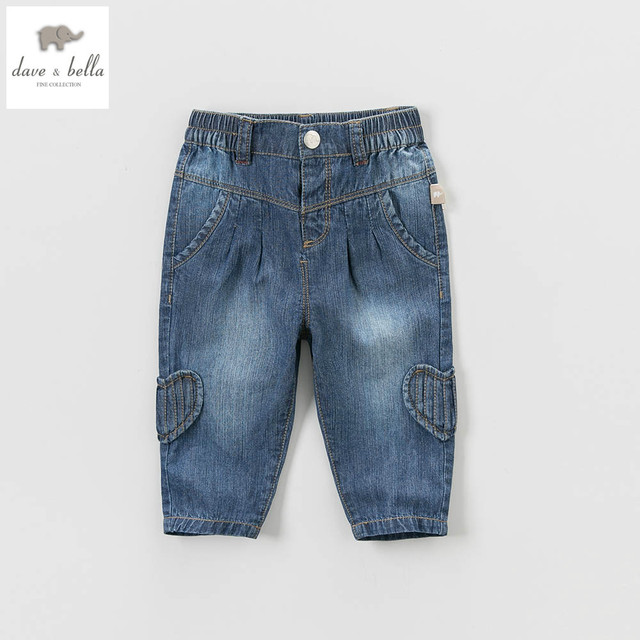 DB5177 dave bella spring baby boys jeans pants infant trousers toddle clothes girls black jeans pants kids  trousers denim jeans