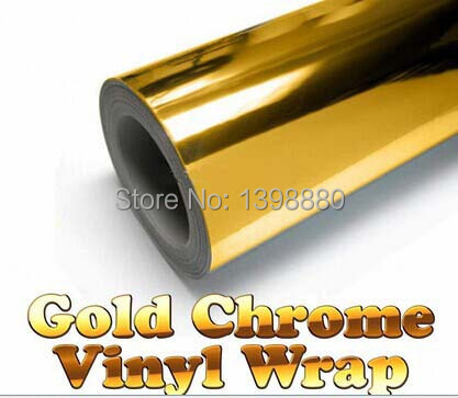 300mmX1520mm Chrome Golden Gold Mirror Vinyl with Bubble Free Air Release DIY Wrap Sheet Film Car Sticker Decal Car Styling 30cmx100cm car styling matt brushed car wrap vinyl film sheet bubble free air release motorcycle automobiles car stickers decal