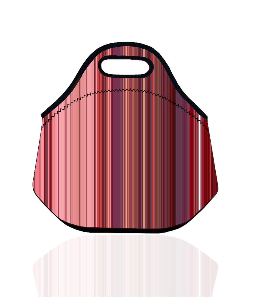 Stripe Waterproof Lunch Bag Neoprene Thermal Insulated Lunch Bags Lunch Cooler Bag for Women & Kids Tote Picnic Pouch