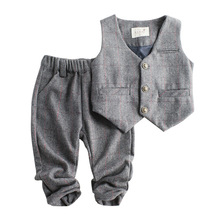 Dollplus Children Suit for Boy Gentleman Suits Boy Formal Kids Wedding Clothes Elegant Boy Clothing Party Suits 2pcs Vest Pants 2pcs new children s leisure clothing sets kids baby boy suit vest gentleman clothes for weddings formal clothing toddler boys