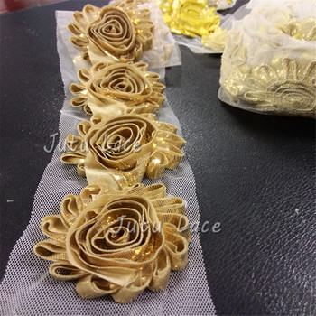 цена на Factory direct sales Shiny Metallic Shabby Chiffon Flower Trim  chiffon hair flower hair accessories 13colors in stock