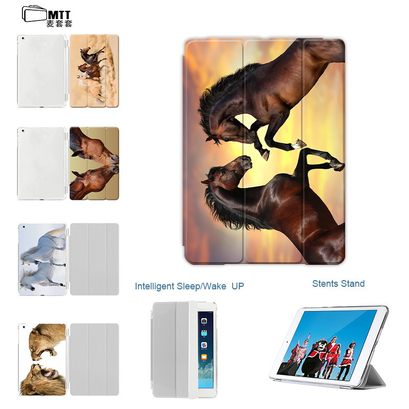 Case For iPad 9.7 New 2017,MTT Fashion PU Leather Flip Smart Case For Apple iPad Air 1 2 Cover Printing Horse Auto Wake up Sleep for apple ipad air 2 case air2 ii flip litchi pu leather wake up sleep cover for new ipad 6 air 2nd with smart stand holder