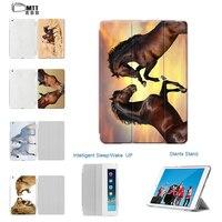 Case Voor iPad 9.7 Nieuwe 2017, MTT Mode PU Lederen Flip Smart Case voor Apple iPad Air 1 2 Cover Afdrukken Paard Auto wakker slaap