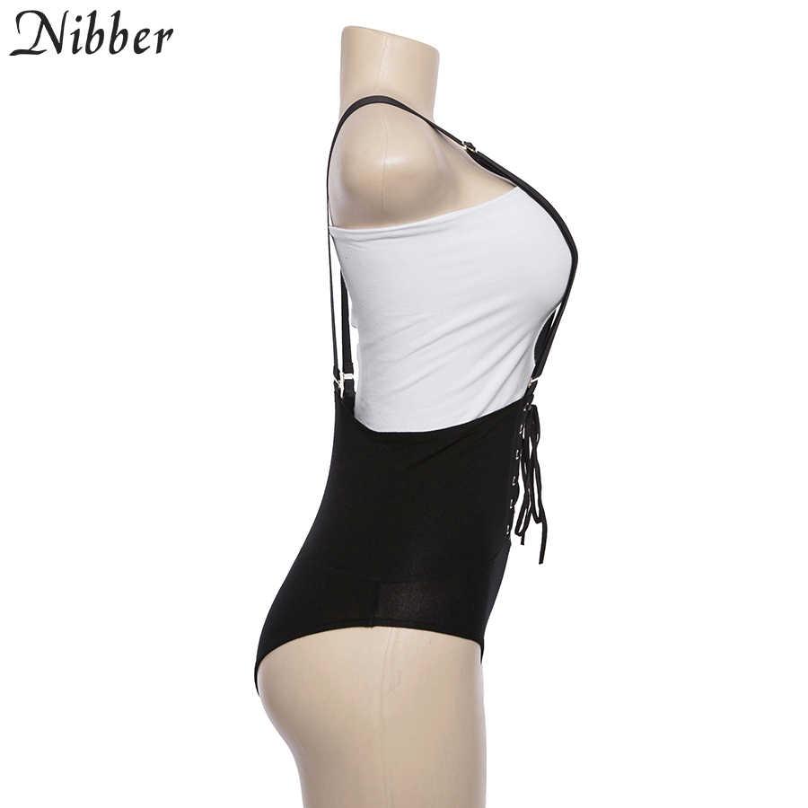 Nibber сексуальная мода Strappy Женское боди с вырезом на спине черные красные летние, пляжные, без рукавов сексуальные боди 2018 тонкий боди