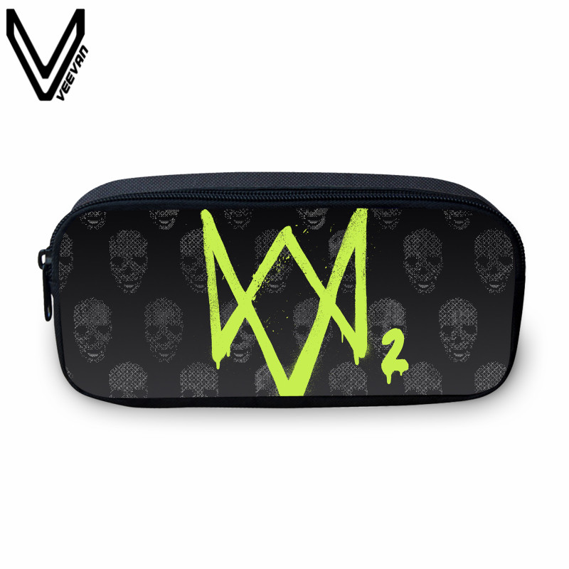 VEEVANV 2017 New Design Watch Dogs 2 Prints Small Case Students Study Box Casual Make Up Bags Cases For School Kids