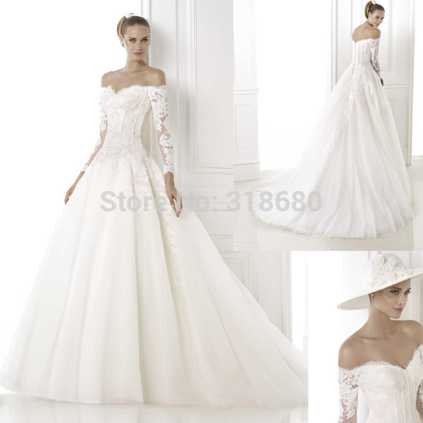 Ball Gown Off The Shoulder Long Sleeve Wedding Gowns Corset Top ...