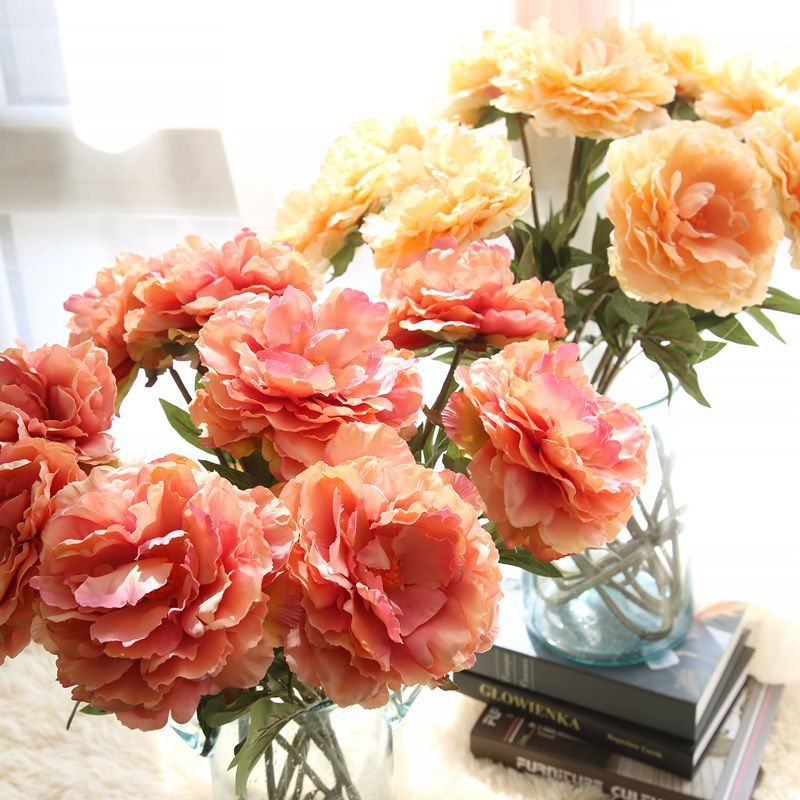 Christmas Artificial Peony Flower Single Silk Hand Holding Flower Bouquet Wedding Party Home Decoration Fake Flower Wholesale in Artificial Dried Flowers from Home Garden