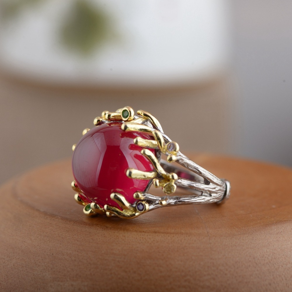 Synthetic corundum ring S925 sterling silver inlaid with antique gold gilt style women's simple atmosphere style glamour jewelry