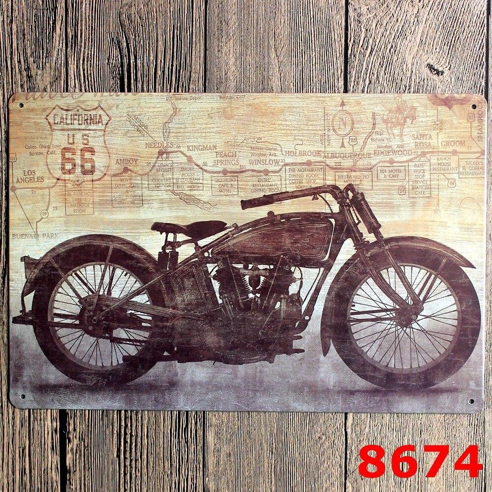 California us 66 old motorola vintage metal tin signs for Decoration 66