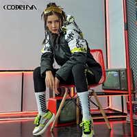 Street Personality Winter Hooded Pocket Jacket Women Loose Parkas Warm Coat Women Contrast color graffiti print Jacket Outwear
