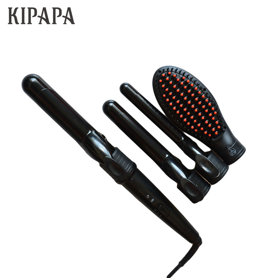 KIPAPA 4 in 1 Curling Wand Gift Set Interchangeable Curling Iron 410F Digital Clipless Hair Curler Set Magic Hair Styling Tools new pro ceramic hair curling iron tong 4 in 1 tourmaline clipless curling wand 9mm 25mm interchangeable hair curler set n1f4p