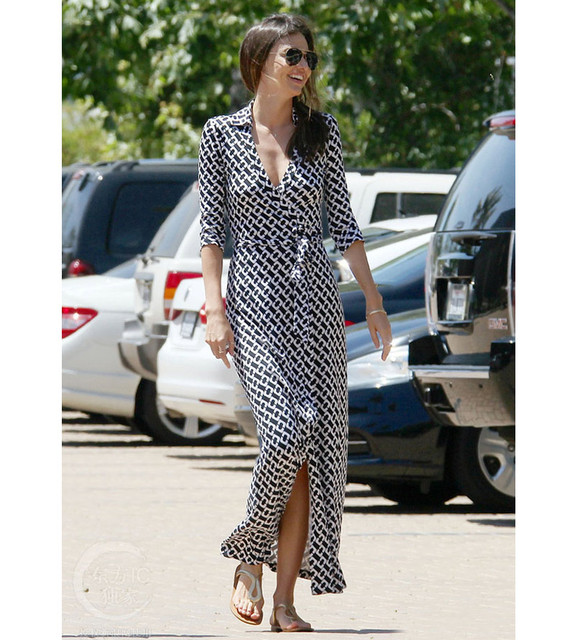 Famous brand womens clothes elegant runway dress 2018 summer geometric print black and white dress sexy