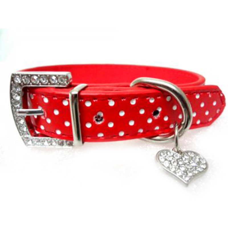 Rhinestone Bling Dog Collars Polka Dots Leather Pet