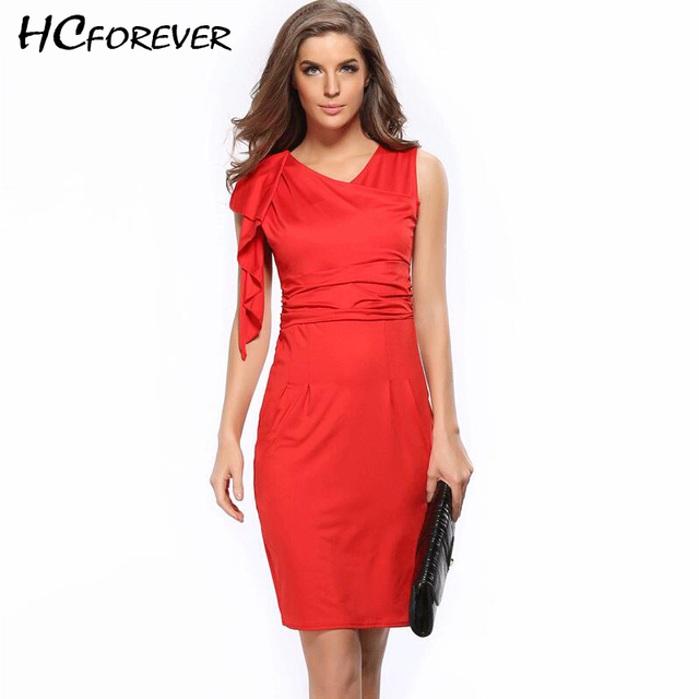 dbfbe78ff70 2018 Office Dress for Women Work Midi Pencil Dresses Plus Size Xxxl White  Black Red Blue Bodycon Ladies Dresses Elegant Hot Sale
