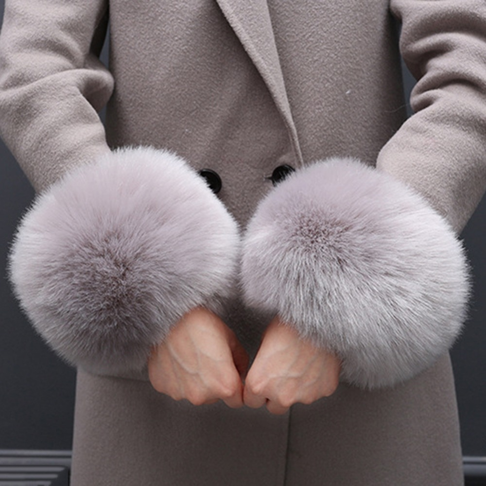 1 Pair Solid Color Fashion Winter Warm Faux Fox Fur Wrist For Ladies Women's Warmer Cuffs Arm Warmers Wraps