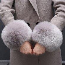 1 пара сплошной цвет мода зима теплый искусственный мех лисы запястье для дамы женские теплые