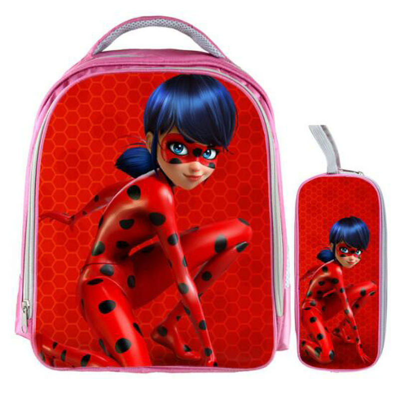 13 Inch Miraculous Ladybug Marinette Cat Noir Backpack Kids School Bags for  Boys Baby Kindergarten Child 4b1277d7a0b91