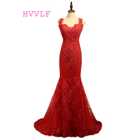 Burgundy Robe De Soiree 2017 Mermaid V Neck Tulle Appliques Lace See Through Sexy Long Prom
