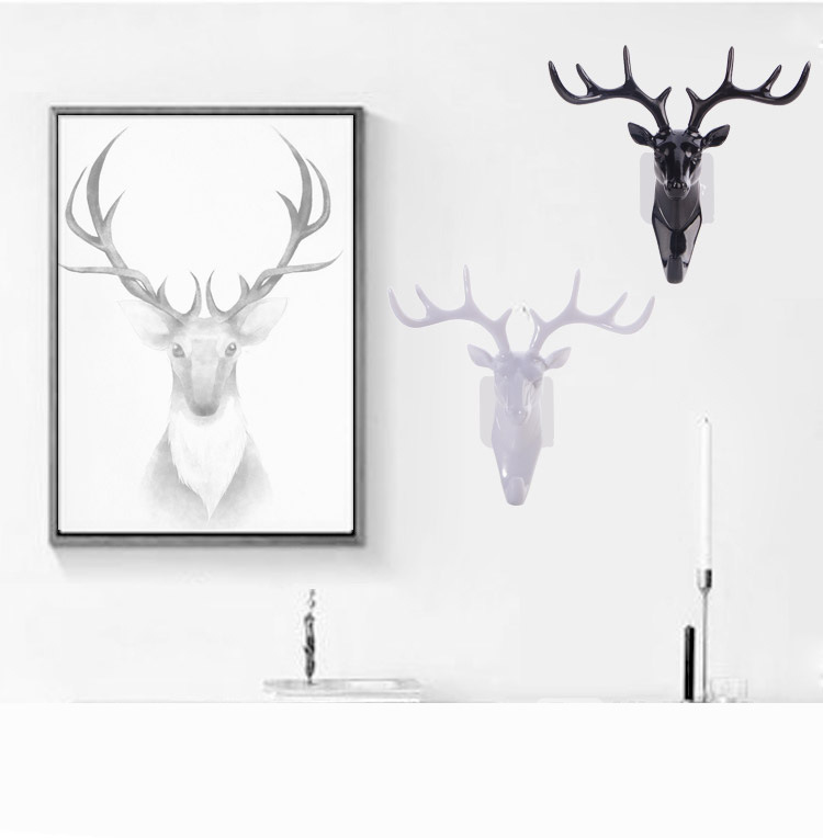 Home Decor Wall Deer Head Hooks Home Decor Europe Deer Hanger Adhesive Clothing Display Racks Hook Home Wall Arts