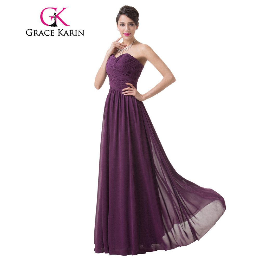 Grace Karin real foto vestido de dama de novia sin tirantes gasa ...