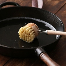 Natural Wooden Long Handle Pot Brush Kitchen Pan Dish Bowl Washing Cleaning Household Tools